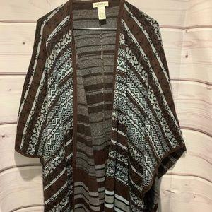 Orvis Women one size blue brown drape sweater 1819